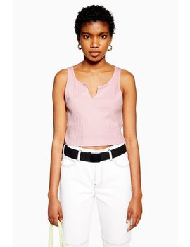 Pink Notch Vest by Topshop