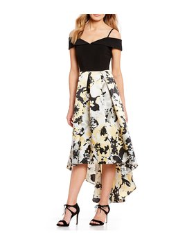 Off The Shoulder Floral Print Hi Low Gown by Marina