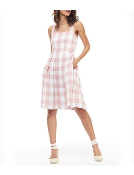 Polly Gingham Square Neck Pleated A Line Dress by Gal Meets Glam Collection