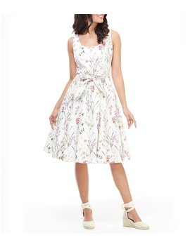 Petal Floral Print Scoop Neck Midi Dress by Gal Meets Glam Collection