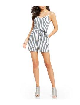 Lizel Stripe Tie Front Romper by Guess