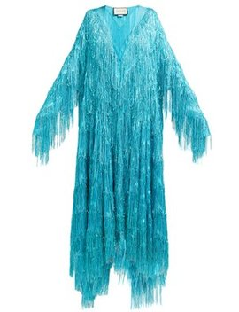 Metallic Fringed Fil Coupé Gown by Gucci
