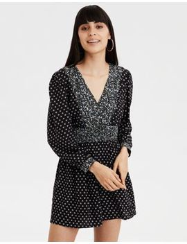 Ae Long Sleeve Print Mix Romper by American Eagle Outfitters