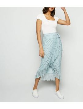 Blue Floral Mesh Frill Wrap Midi Skirt by New Look