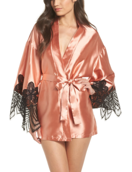 Drama Lace Trim Satin Robe by Oh La La Cheri