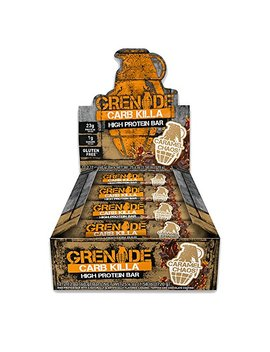 Grenade Carb Killa Protein Chocolate Bar | 23g High Protein Snack | Keto Friendly Low Net Carb Low Sugar | Gluten Free Nut Free Energy Bars | Caramel Chaos, 12 Pack by Grenade