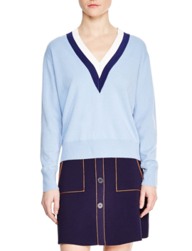 Nael Stripe Wool & Cashmere Sweater by Sandro
