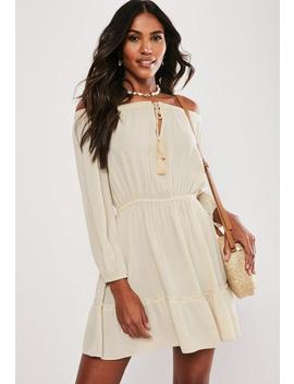 Stone Bardot Long Sleeve Tassel Dress by Missguided