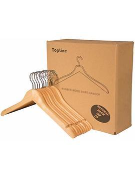 Topline Classic Wood Shirt Hangers   Natural Finish (10 Pack) by Topline