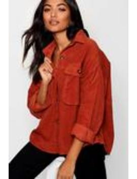 Super Oversize Mock Horn Button Cord Shirt Super Oversize Mock Horn Button Cord Shirt by Boohoo