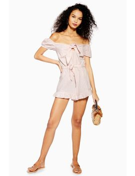 Pink Gingham Bardot Playsuit by Topshop