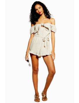 Gingham Bardot Playsuit by Topshop