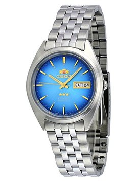 Orient #Fab0000 Al Men's 3 Star Stainless Steel Day Date Blue Dial Automatic Watch by Orient