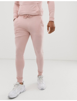 Asos Design Tracksuit Muscle Hoodie/Extreme Super Skinny Sweatpants In Dusty Pink by Asos Design