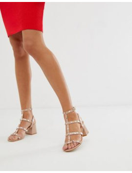 Public Desire Always Blush Studded Mid Heeled Sandals by Public Desire