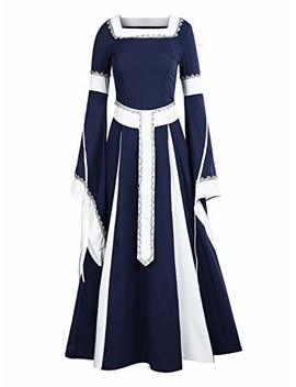 Niu Bia Womens Deluxe Medieval Dress Renaissance Costumes Victorian Irish Over Long Dress Cosplay Retro Gown by Niu Bia