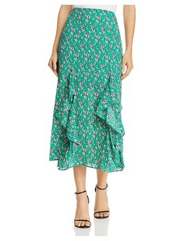 Adventurer Printed Ruffled Midi Skirt by The Fifth Label