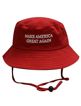 Bd2024 Trump Slogan Make America Great Again Bucket Hat With String Red by City Hunter