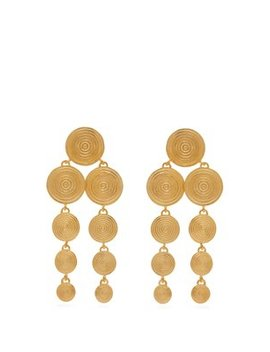 Monta Gold Plated Clip On Drop Earrings by Joelle Kharrat