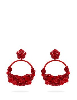 Floral Embellished Clip Earrings by Oscar De La Renta