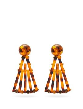 Fan Tortoiseshell Effect Drop Earrings by Cult Gaia