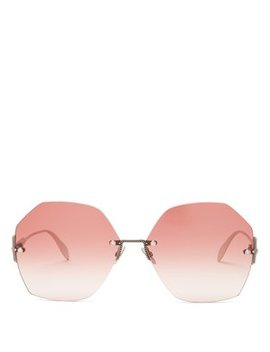 Oversized Pearl Rivet Rimless Metal Sunglasses by Alexander Mc Queen