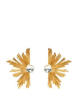 Burst Crystal Centre Clip Earrings by Saint Laurent