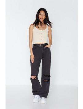 Let Her Rip Distressed Wide Leg Jeans by Nasty Gal