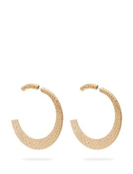 Snake Skin Engraved Brass Hoops by Saint Laurent