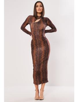 Rust Shimmer Snake Bodycon Midaxi Dress by Missguided