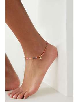 Beaded Seashell Charm Anklet by Forever 21