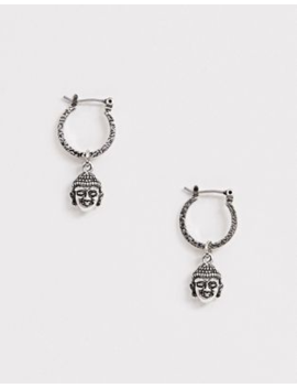 Asos Design Hoop Earrings With Buddha In Burnished Silver by Asos Design