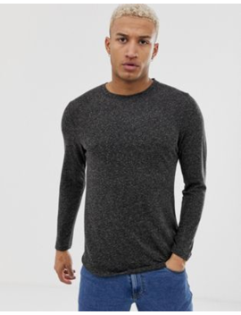 Asos Design Longline Long Sleeve T Shirt With Curved Hem In Linen Mix by Asos Design