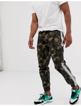 Sik Silk Cargo Pants In Camo With Side Stripe by Sik Silk