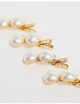 Asos Design Pack Of 4 Mini Hair Clips With Double Pearls by Asos Design