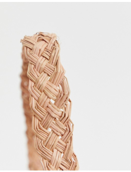 Kaanas Woven Raffia Handle Detail Clutch Bag In Pink by Kaanas