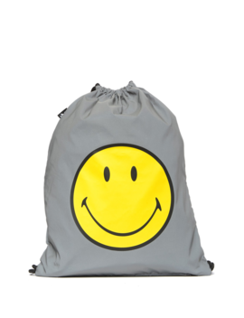 Reflective Smiley Drawstring Water Resistant Backpack by Loqi
