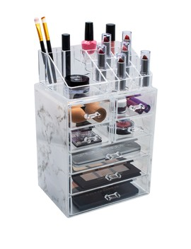 Cosmetic & Makeup Storage Case   Gray Marble by Sorbus