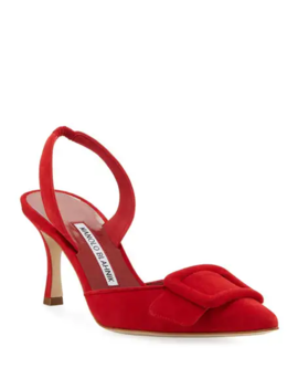 May Suede Slingback Buckle Pumps by Manolo Blahnik