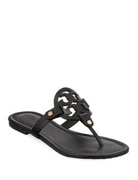Miller Medallion Leather Flat Thong by Tory Burch