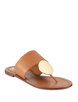 Patos Disk Leather Flat Slide Sandals by Tory Burch
