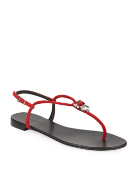 Jeweled Suede Flat Thong Sandals by Giuseppe Zanotti