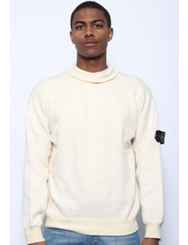 Vintage Stone Island Roll Neck Jumper Cream by Stone Island