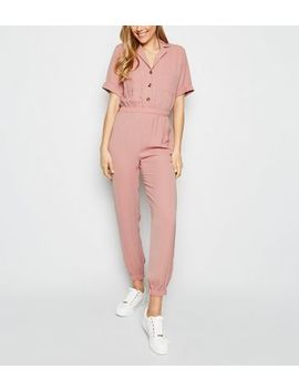 Pink Herringbone Cuffed Utility Jumpsuit by New Look