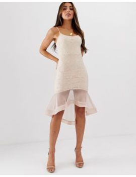 Missguided Strappy Lace Mesh Fishtail Midi Dress by Missguided