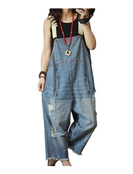 Yesno P60 Women Jeans Cropped Pants Overalls Jumpsuits Hand Painted Poled Distressed Casual Loose Fit by Yesno