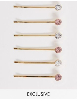 Accessorize Exclusive 6 Swarovski Hair Slide Mutlipack With Clear And Pink Stones by Accessorize