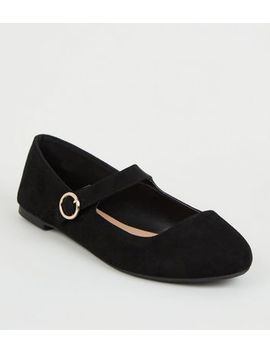 Wide Fit Black Suedette Mary Jane Pumps by New Look