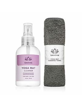 Saucha Natural Yoga Mat Cleaner Spray 4oz With Free Microfiber Cleaning Cloth   Eco Friendly Plant & Essential Oils Based Cleaning Solution (Lavender Bliss) by Saucha