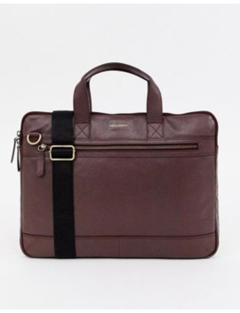 Asos Design Leather Laptop Satchel In Burgundy And Front Zip by Asos Design